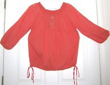 LUCKY BRAND 100% COTTON XL SMOCK NECK TOP - TANGERINE (PURCHASED FROM NORDSTROM)
