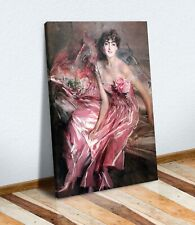 CANVAS WALL ART ARTWORK PAINTING FRAMED PRINT Giovanni Boldini The Lady in Pink