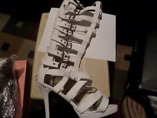Sexy Women Akasa Strappy Gladiator Knee High Heels In White Size 7.5 Defect