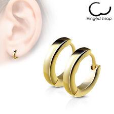 Pair of Stainless Steel Small Plain Dome Hoop Huggie Earrings Men or Women