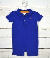 Baby Boys RALPH LAUREN Sz 6m Dark Blue One Piece Polo Romper Orange Logo