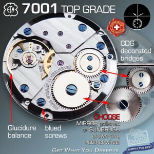 MOVEMENT,  ETA 7001,  TOP GRADE GLUCYDUR BALANCE, CDG, BLUE SCREWS, SWISS MADE