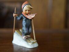 """RARE GOEBEL Hummel Figurine """"SKIER"""" 59 Wooden Poles • VINTAGE"""