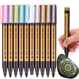 10 Color Metallic Paint Marker Pen Permanent Writing Rock Painting Album Gl HF