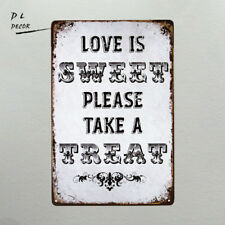 DL-Rustic Chic Country Burlap Wedding Sign LOVE IS SWEET TAKE A TREAT Metal Sign