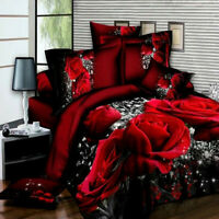 4pcs/set 3D Rose Duvet Quilt Cover Bedding Set With Fitted Sheet + Pillow Cases