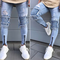 Men Stretch Skinny Jeans Trousers Destroyed Ripped Slim Fit Denim Pants Trousers