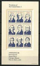 U.S. stamps scott 2216, 2217, 2218, & 2219 - 22 cent sheet 1986 issues mnh