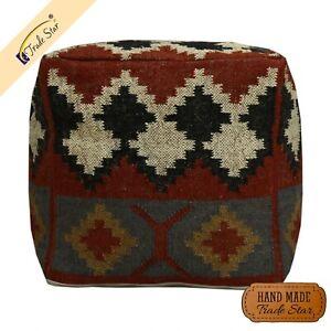 "Vintage Kilim Ottoman Pouf Cover 18"" Jute Wool Footstool Case Handmade Pouf Case"