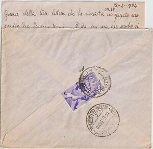 13/6/1934 50C CAMPIONATO MONDIALE DI CALCIO SU BUSTA DA NAPOLI X PALERMO