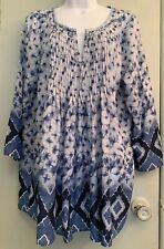Beach Lunch Lounge Pea in the Pod Blue White Maternity Blouse 3/4 Sl Sz L Pleats