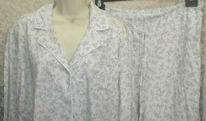 Ralph Lauren 1X Cotton knit Pajamas top/pants long sleeve Gray/Ivory Floral New!
