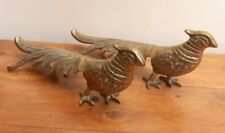 Large Pair of Vintage Brass Fireside Pheasants Country House Farmhouse