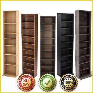 ADJUSTABLE WOOD STORAGE SHELF Media Bookcase Tower Rack Cabinet Organizer Stand