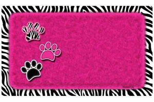 "Dog or Cat Placemat 12"" x 20""  Pet Mat Waterproof, Zebra Pink"