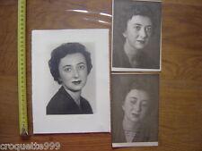 3 Photos portrait d une jeune femme BLANC DEMILLY Lyon epreuve sans retouche