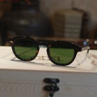 Round SOILD Acetate Johnny Depp sunglasses mens tortoise frame green glass lens
