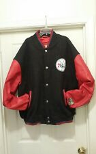 Philadelphia 76ers Rare Wool NBA Jacket With 100%Leather Sleeves Size XXL