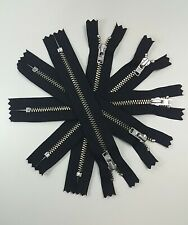 Genuine YKK No 3 Nickel Closed End Zippers Black (YKK580) 15cm 5pc lot