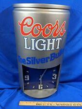 Huge Coors Light Beer Can Silver Bullet Clock Vtg Advertising Breweriana 24x12