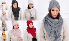 Bestseller Damen Mütze Schal Set Wintermütze Bommel Strickschal Winter Frauen