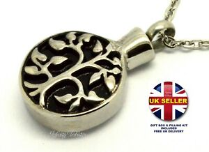 Cremation Urn Necklace - Keepsake Pendant Charm for Ashes - Tree of Life