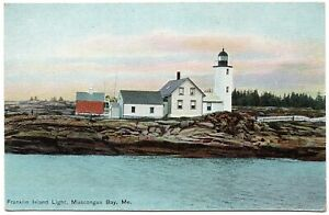 Franklin Island Light Muscongus Bay ME Maine Postcard H.C. Leighton 28073