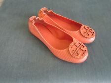 Tory Burch Reva Orange Ballet Flats Leather Size 4.5M New