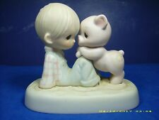PRECIOUS MOMENTS PORCELAIN FIGURINE E9259 WE'RE IN IT TOGETHER 1982. FISH + GIFT