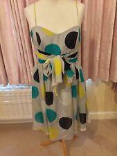 Coast Grey, Turquoise, Yellow, Black Spot Dress 14