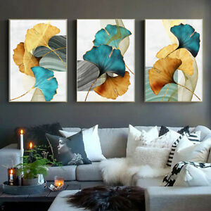 Blue Green Yellow Gold Plant Leaf Abstract Poster Nordic Canvas Print Painting