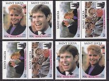 ST LUCIA  ^^^^^1986  ROYAL WEDDING x4 MNH pairs ( Face $11.20)@lar4474st