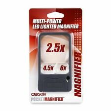 Carson Ultra-bright LED Lighted Multi-Power 2.5x 4.5x & 6x Pocket Magnifier -UK