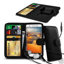 For Karbonn Titanium S5 Plus - Clip On PU Leather Wallet Case & Earphone