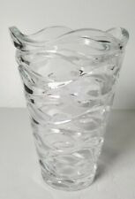"Mikasa Atlantic Crystal Vase with a Rippling Water Type Pattern - 9"" Tall"
