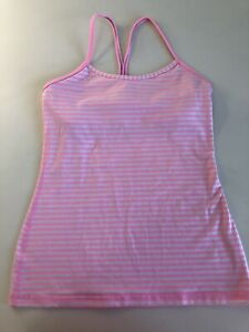 Pink Striped Lululemon Athletic Yoga Tank Top Built In Bra Womens Size 8