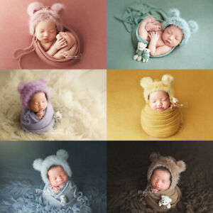 Newborn Photography Props Baby Swaddling Wrap Blanket Backdrop Hat Bear Doll