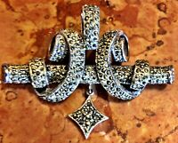 Art Deco 925 Sterling Silver Marcasite Scrollwork Brooch Pin Exquisite NEW