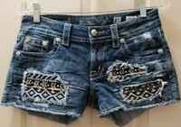 Miss Me Signature Short Denim Jean. Size 27 Rise 7.5 Waist 15=30X3 Distressed