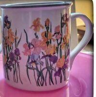 1988 Potpourri Press Iris mugs. Cream colored mugs with beautiful Iris flowes