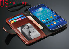 Brown Retro Book Design Wallet PU Leather Stand Case Cover For Samsung Galaxy S4
