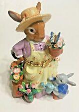 Easter Bunny Rabbit Porcelain Keepsake Hinged Box Gardening Mom Baby Flowers