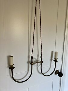 Jim Lawrence 2 bulb Pendant Light in Antiqued Brass with glass ball centre