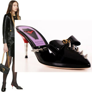 """37 NEW $980 GUCCI Black Patent Leather ROCKER STUDDED SPIKE Point Toe 2"""" HEELS"""
