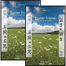 Poster Frame Photo Picture Pocket Plastic Cover 24x36 Decor 2Pk Basic Black NEW