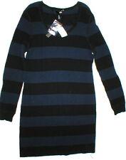 New Womens Aqua Wool Cashmere Sweater Dress Black Blue M Dark Stripes NWT $210