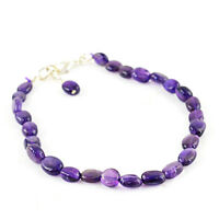 46.50 Cts Natural Amazing Purple Amethyst Untreated Oval Beads Bracelet (RS)