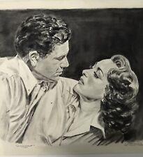 1958 Vintage Original Fan Drawing Joan Crawford John Garfield Signed K Overgaard