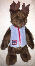 """1998 Boyds Bears 14"""" Plush Moose in Zip Up Blue Fleece Vest Mitten Patch"""