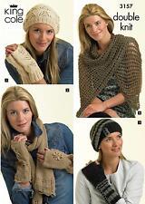 King Cole Womens Hats Gloves & Scarves Ladies DK Winter Knitting Pattern - 3157